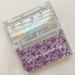 Purple Butterfly Clear Cases Custom Eyelash Packaging Boxes